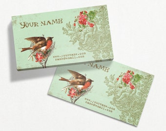 Business Cards  Custom Business Cards  Personalized Business Cards  Business Card Template  Vintage Business Cards  Bird Business Card V1