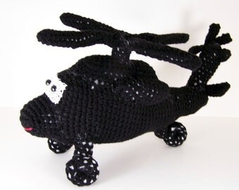 Uh-60 Blackhawk helicopter ,  Crocheted Amigurumi Military Blackhawk Helicopter , stuffed helicopter toy  MADE TO ORDER