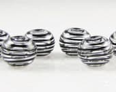 Mini Black Clear Swirl Hollow Lampwork Glass Bead Set (6)