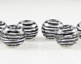 Mini Black Clear Swirl Hollow Lampwork Glass Bead Set (6)