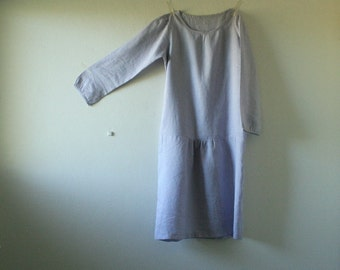 READY TO SHIP / linen dress / long sleeve / drop waist maxi dress / linen smock eco / organic / etsy australia / pamelatang