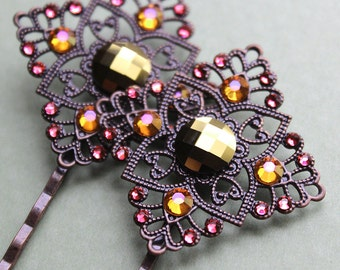 Antiqued Copper Hair Pins with Swarovski Crystals - Pink, Gold