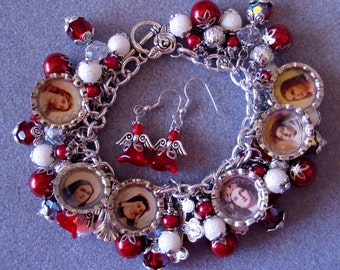 Handmade Catholic Saints Loaded Charm Bracelet Red White Angels & Earrings Set