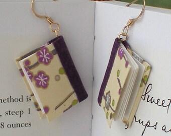 Mini Book Earrings, Purple Plum Blossoms Book Earrings- gold