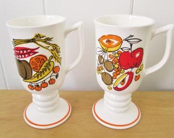 vintage fruit n veggie pedestal mugs