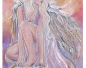 Anahel angel in the morning sun  fantasy art  print by Renee  Lavoie