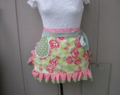 Aprons - Rose Aprons - Amy Butler Aprons - Amy Butler Love Collection - Green Aprons - Annies Attic Aprons - Peach Rose Aprons