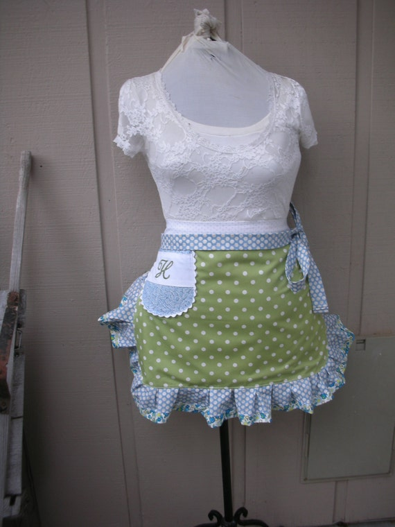 Aprons - Womens Half Aprons - Sea Breeze and Mist Apron - Blue and Green Dots - Ruffled Apron with Pockets - Annies Attic Aprons