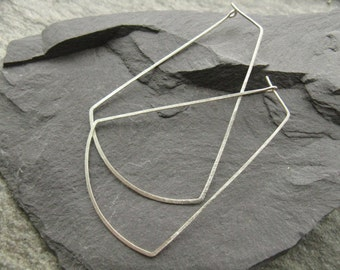 Moon Ray, oversized silver hoop earrings, statement geometric earrings, oversized trapezoid / rectangle thin hoops in hammered silver