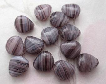 15 pcs. Czech glass amethyst purple stripe beads 12x11x6mm - f4640
