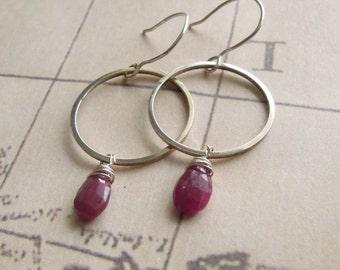 Genuine Red Ruby Gemstone Earrings, Sterling Silver Hoops