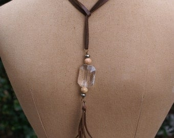 Cowgirl Chic Lariat leather bohemian leather fringe necklace