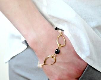 Pink Blush and Black Bead Modern Bracelet