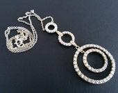 """Multi Circle Sterling Silver  CZ Dangle Necklace with  18"""" chain"""