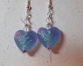 Blue Matte Finish Glass Bead Heart Earrings  Pink Flower  with Swarovski Accent silver