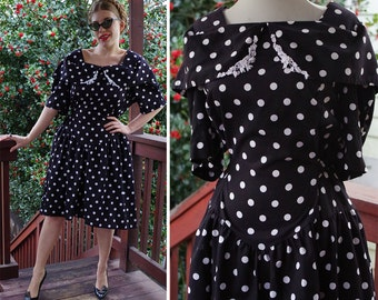 Polka DOTS 1980's does 50's Vintage Black + White Polka Dot Dress with Wide Collar // by Lady Dorby // size Large XL
