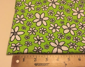 Cotton Poly Knit Daisy Foral Pattern  Fabric 7/8Yard