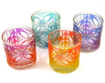 Samoan Flower 10oz Lowball DOF Tumblers - Set of 4 - Etched and Painted Glassware - Ready to Ship