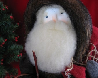 Santa Old World Woodland OOAK hand sculpted soft sculpture