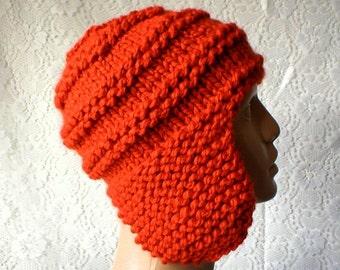 Pumpkin orange ear flap hat, trapper cap, aviator hat, men's hat, women's hat, ski hat, winter hat, orange knit hat, chemo cap, biker, toque