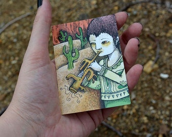 "PRINT artist trading card  ""Cactootsy"" by Poxodd ~ Wind Instument ACEO, ATC reproduction,  music, instruments, cactus, desert"