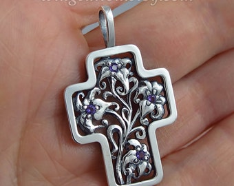 Floral Silver Cross Art Nouveau inspired with Amethyst - Ready to ship