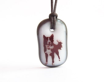 Border Collie Necklace / Dog Jewelry / Pet Lover / Black and White / Pet Dog Necklace / Necklace Dog