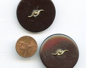 Pair BAKELITE BLACK Buttons with EYES Metal Embellishment Large Vintage 1 3/8 inch size 9708