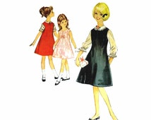 1960s Girls Blouse Jumper Dress Simplicity 5221 Vintage Sewing Pattern Size 12 Breast 30