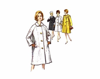 1960s Raglan Sleeve Coat Scarf Simplicity 5148 Vintage Sewing Pattern Misses Size 14 Bust 34