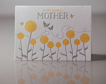 To My Dearest Mother Card - Mother Nature Card - Mothers Day Card - Floral Mom Card - Mom Everyday Card - Letterpress Cards