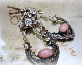 marrakesh . eXquisite vintage assemblage earrings . rhinestones . antique watch chain . rose pink sTar sapphire