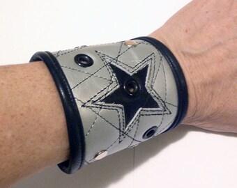 Silver Black  Leather Black RockStar Wrist Cuff 7 - 7 1/2 in by Darkwear Clothing