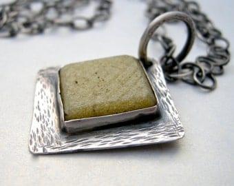 vintage tile necklace, rustic pale yellow vintage glass tile necklace, upcycled vintage tile necklace, upcycled necklace