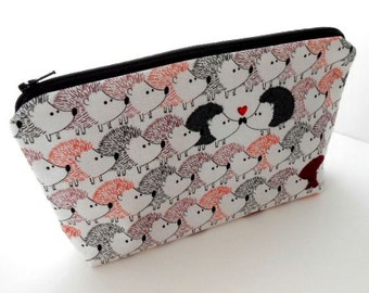 Large Padded Cosmetic Bag Flat bottom ECO Friendly Zipper Pouch NEW Hedgehog Love