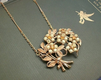 Elegant Minimalist Gold Bouquet Repurposed Brooch Necklace Long Statement Yellow