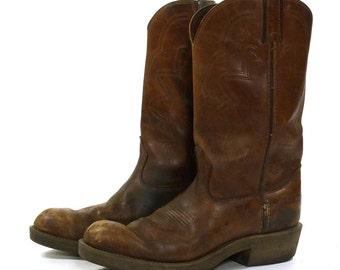 Durango Cowboy Boots / Medium Brown Leather / Women's Size 11.5 / Men's Size 10