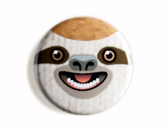 Ecstatic Sloth Face One Inch Pinback Button, Magnet, or Keychain