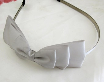 Gray Three Layered Satin Bow Headband