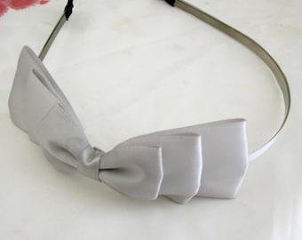 Gray Three Layered Satin Bow Headband