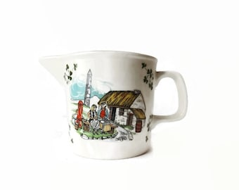 Carrigaline Pottery Creamer, Thatched Roof Cottage Scene, Made in Ireland, Vintage Irish Kitchen Decor