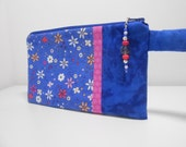 Royal Blue Floral Wristlet with Beaded Zipper Pull