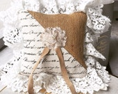 Burlap and Antique Lace Bohemian Country Elegance Ring Pillow