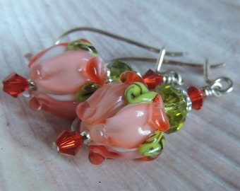 PEACHES ROSES Handmade Lampwork Dangle Earrings Leverback Sterling Silver