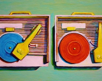 Vintage Fisher-Price Record Players Print of Original Painting 5x8
