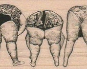 Bending butts old ladies bent swimsuit rubber stamps wood mounted 17663 scrapbooking supplies