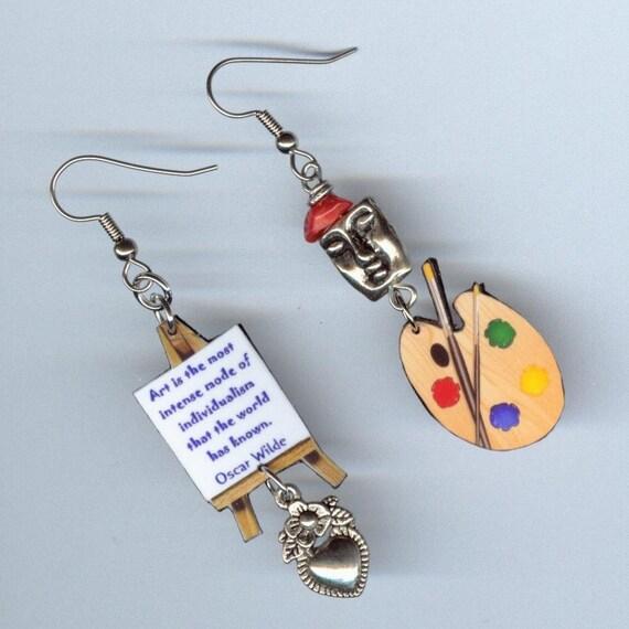 Artist Earrings - Easel Palette - Van Gogh - Oscar Wilde Quote - art lovers gift