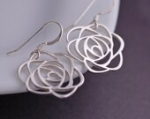 Silver Rose Earrings, Flower Earrings, Dangle Earrings, Rose Jewelry, Sterling Silver Rose Earrings