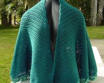Teal Green Cape - Handmade Crochet - Wardrobe Accessory -