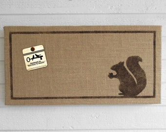 Woodland Squirrel - 12 x 24 Burlap over Cork Message Board, Pin Board, Memo Board, Bulletin Board - Squirrel decor - Squirrel wall decor